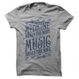 Music Heals T-Shirt Heather Gray by Status Serigraph
