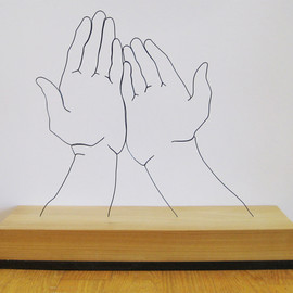 "Gavin Worth - ""Hands Supplicated"" - Steel wire and poplar"