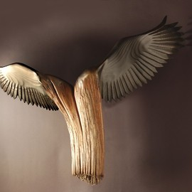Jason Tennant - Nike Of The Forest , Wood Sculpture by Jason Tennant. American Chestnut