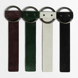 CELINE - ROUND BUCKLE BRACELET IN SUEDE / DARK GREEN