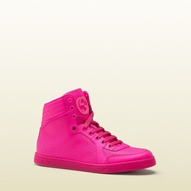 Gucci - neon pink leather sneaker
