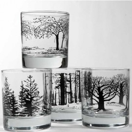 Black Tree Glasses Set