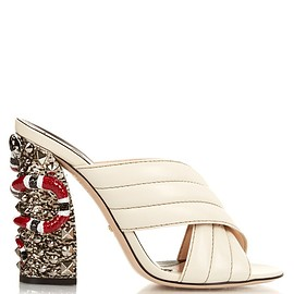 GUCCI - SS2016 Webby embellished-heel mules
