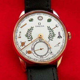 1955's ECCENTRIC OMEGA ZODIAC DIAL 18K SOLID ROSE GOLD MEN'S WATCH
