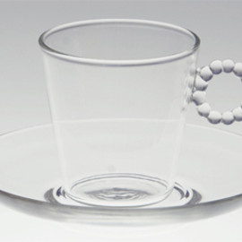 HARIO Lampwork Factory - ORIGINAL TABLE WARE Water Drops cup  & saucer