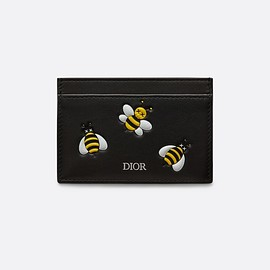 DIOR, KAWS - Black Card Holder with Bees