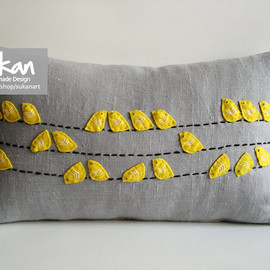 sukanart - Sukan / Valentine's Day Birds Linen Pillow Cover - 12x20 inch - Yellow, Gray, Black Color