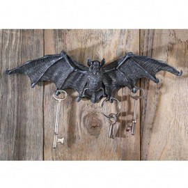 Vampire Bat Key Holder Wall Sculpture in Gray Ston