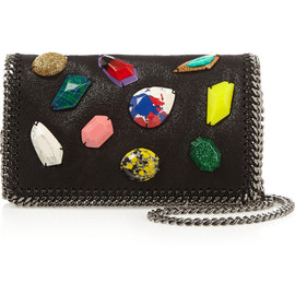 Stella McCartney - The Falabella embellished faux brushed-leather shoulder bag