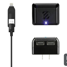 Scosche - strikeBASE pro 5W + 5W - Wall Charger for Smartphones and More plus Lightning/micro USB Cable