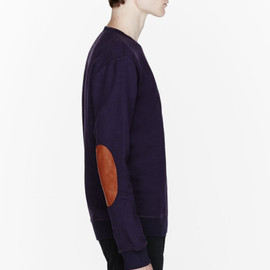 Maison Martin Margiela - Maison Martin Margiela Purple Leather Elbow Patch Sweatshirt in Purple for Men