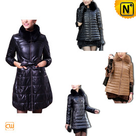 CWMALLS - Quilted Down Coat Leather CW148360 - cwmalls.com