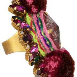 MARIO TESTINO FOR MATE - by VICKIBEAMON gold-plated, Swarovski crystal and pompom ring