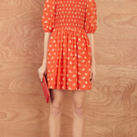 KAREN WALKER - Scarlet Shirred Frock