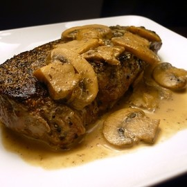 unknown - Peppercorn Crusted Top Sirloin with Mushroom-Cream Sauce