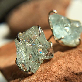 KIKY - KIKY,   Rough Aquamarine Earrings