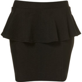 TOPSHOP - Black Ribbed Peplum Mini Skirt
