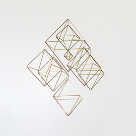 HRUSKAA - Large Brass Himmeli / Modern Hanging Mobile / Geometric Sculpture
