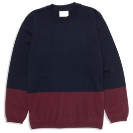 UNIVERSAL PRODUCTS - BI-COLOR CREW NECK[NAVY/BURGUNDY]