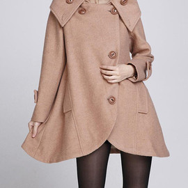 wool coat - Camel cloak wool coat Hooded Cape women Winter wool coat