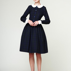 mrspomeranz - Custom made navy blue tartan dress with white detachable collar and cuffs.