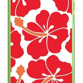 SECOND SKIN - 北欧ハイビスカス レッド (クリア) / for iPhone 5c/SoftBank