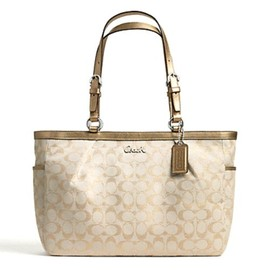 Coach - Coach Gallery Metallic Signature Large Tote 17723 Khaki/Gold