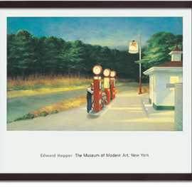 Edward Hopper - Gas (Dark Brown Frame)