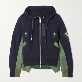 sacai - Hooded padded cotton-blend jersey and shell jacket