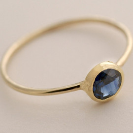 Tulajewelry - 5mm Blue Sapphire Ring