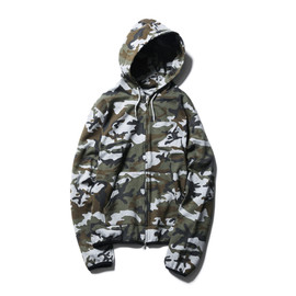 SOPHNET. - CAMOUFLAGE STRETCH JERSEY ZIP UP PARKA