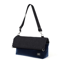 "HEAD PORTER - ""VELOURS"" 2WAY SHOULDER BAG BLUE"