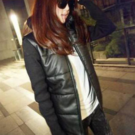 Fashion Splicing Black Padded Pillow Collar Jacket Slim Fit Coat
