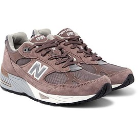 New Balance - 991 Suede and Mesh Sneakers