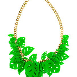 Tatty Devine - Hot House Leaves Necklace green