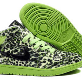 Men Air Jordan 1 Olympic Shoes with Leopard Print Sneakers black and Lime green