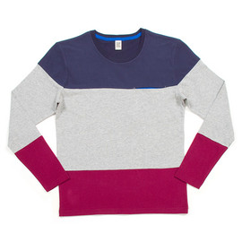 Design Tshirts Store graniph - Color Block Long Sleeve (Navy)