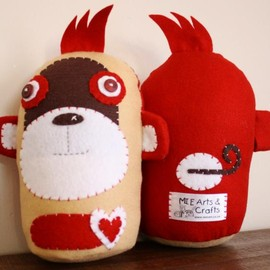 Luulla - BOObeloobie Mango the Monkey in Red, Chocolate Brown, Cream and white accents