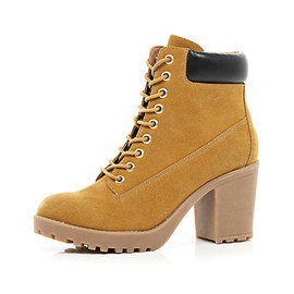 River Island - LIGHT BROWN LACE UP WORKER BOOTS