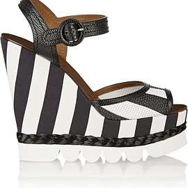 DOLCE&GABBANA - Striped leather and brocade wedge sandals