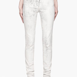MM6 MAISON MARTIN MARGIELA - White and grey Marbled Slouchy Skinny Fit Jeans