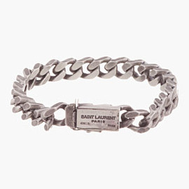 SAINT LAURENT - SAINT LAURENT Antiqued silver curb chain Gormette Bracelet