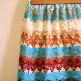 persephonevintage - RESERVED UNTIL 3/2 for Flower Lover Southwestern Maxi Skirt / Boho Thick Knit Chevron Stripe Skirt
