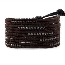 Chan Luu - The Gunmetal Wrap Bracelet on Black Leather with Chocolate Thread by jewelry designer Chan Luu