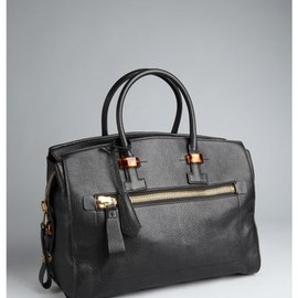 TOM FORD - Black Pebbled Leather Tortoise Detail Tote Bag