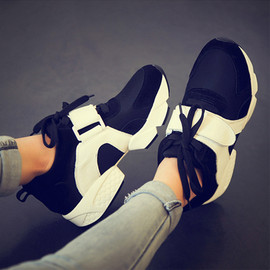 Thick Bottom Velcro Strap Sneakers