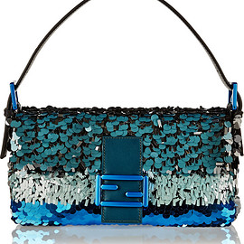 FENDI - Baguette sequin-embellished silk shoulder bag