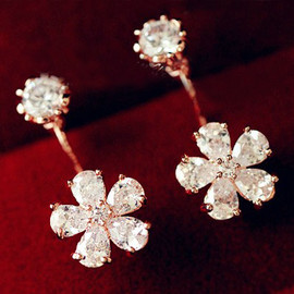 fashion - [grxjy5300157]Shiny Rhinestone Flower Pendant Stud Dangling Earrings Jewelry