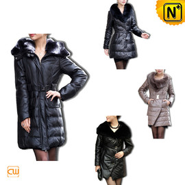 CWMALLS - Designer Women Leather Down Coat CW148420 - cwmalls.com