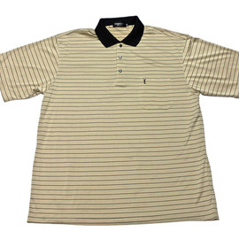 YVES SAINT-LAURENT - Vintage Yves Saint Laurent YSL Silk Striped Polo Shirt Mens Size Large